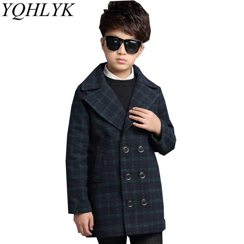New Fashion Autumn Winter Boys Coat 2018 Children Lapel Long-Sleeved Grid Woolen Overcoat Casual Handsome Kids Clothes W198