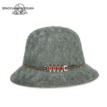 BINGYUANHAOXUAN 2018 Autumn and winter Aristocratic Gauze New Loop Cashmere Hat Lady Wool Cap Middle-Aged