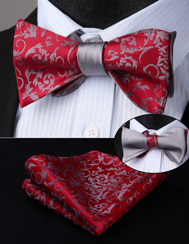 HISDERN Mens Woven Bowtie Solid Paisley Double Side Self Bow Tie Handkerchief Set BEU1-1 Wedding Party