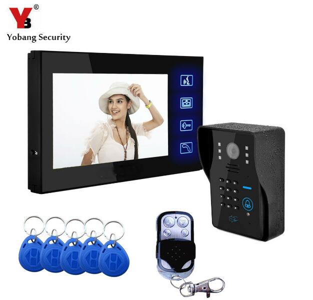 """imágenes para Yobang Seguridad 7 """"Video de La Puerta Teléfono Con Mandos RFID Remoto Sistema de Cámara Con Conexión de Cable Del Timbre Del Teléfono de Intercomunicación Timbre Video"""