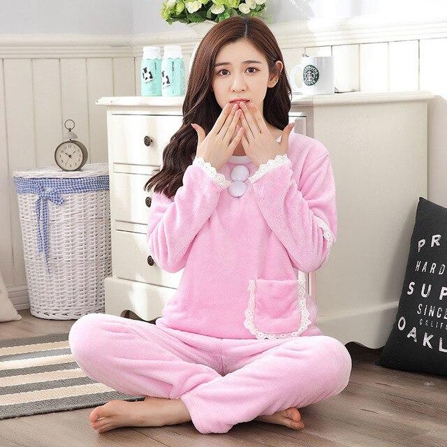 e1c9b99feb Pajamas Suit For Woman Autumn Winter Warm thickening Cartoon Flannel Girl  Pyjamas Long Sleeve Pants Leisure