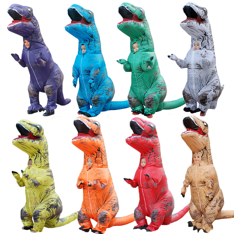 T-REX Costume for Children Jurassic World Mascot Ki Inflatable Costume Halloween Dinosaur Cosplay Party