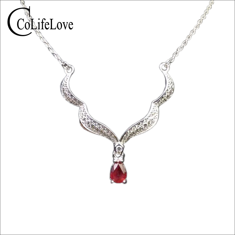 Fashion 925 silver ruby necklace for evening party 4 mm * 6 mm real natural ruby pendant solid 925 silver ruby jewelry 100% real heated ruby drop earrings for wedding 4 mm 5 mm si grade ruby earrings solid 925 silver ruby party jewelry girl gift