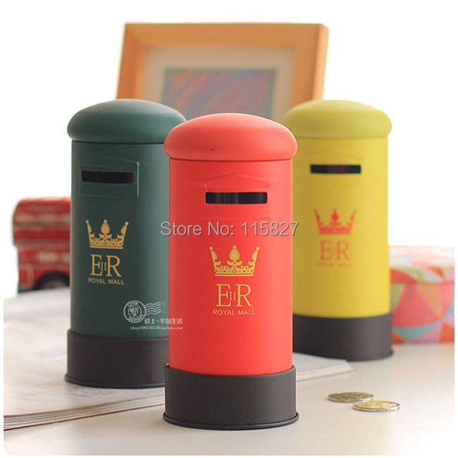 Free Shipping!New England Style Coin Bank Metal Money Box Vintage Style Mail Box Design Coin Saver Mix Color