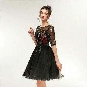 Image 4 - 빠른 배송 저렴한 여성 아이보리 짧은 댄스 파티 드레스 2020 섹시한 블랙 댄스 파티 드레스 특종 얇은 명주 그물 자수 레이스 저녁 파티 가운
