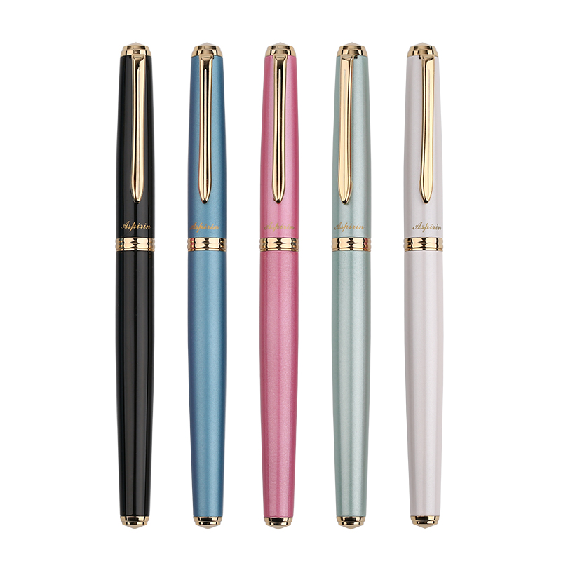 1pc Gold Clip Fountain Pen Gold Plated Metal 0.5mm Student Writing Pens Black Blue Pink Green White for Choose Office Supplies hero 285 smooth black and gold clip calligraphy pen 0 8mm curved tip metal fountain pen with original gift case office supplies