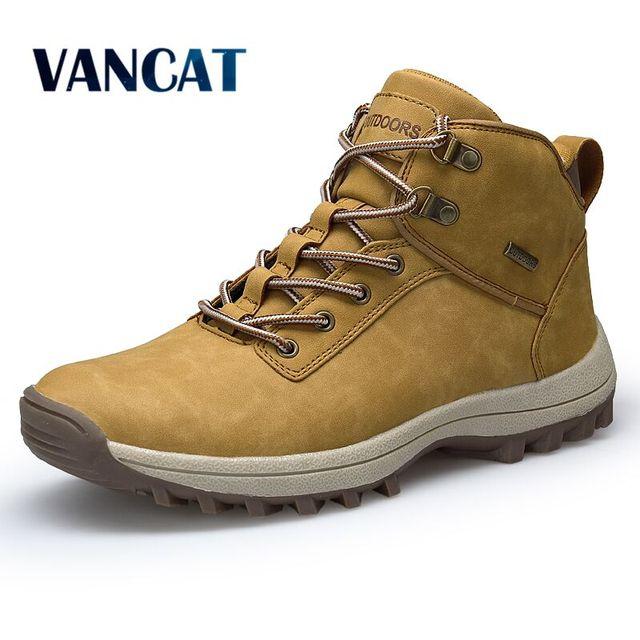 Мужские модные ботинки со шнуровкой Vancat, желтые кожаные кроссовки с высоким берцем, водонепроницаемая обувь для улицы и походов в горы, боль...