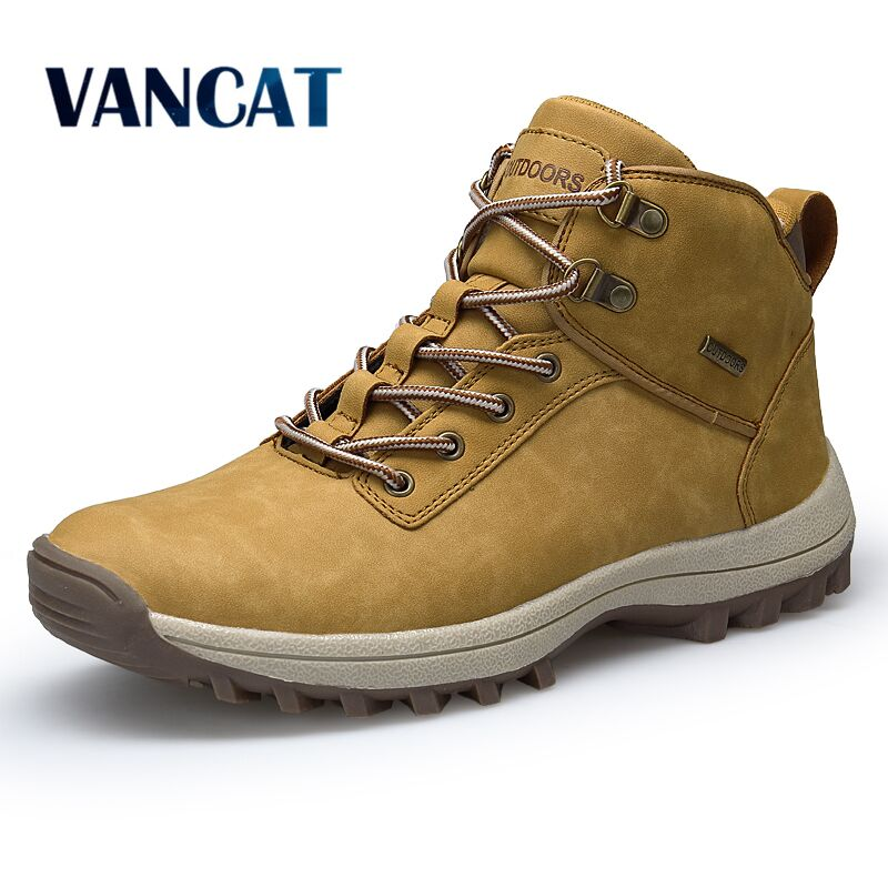 VANCAT Marque Hommes Bottes Grande Taille 39-46 Automne Hiver Hommes En Cuir De Mode Sneakers à Lacets En Plein Air Montagne Hommes chaussures Étanche