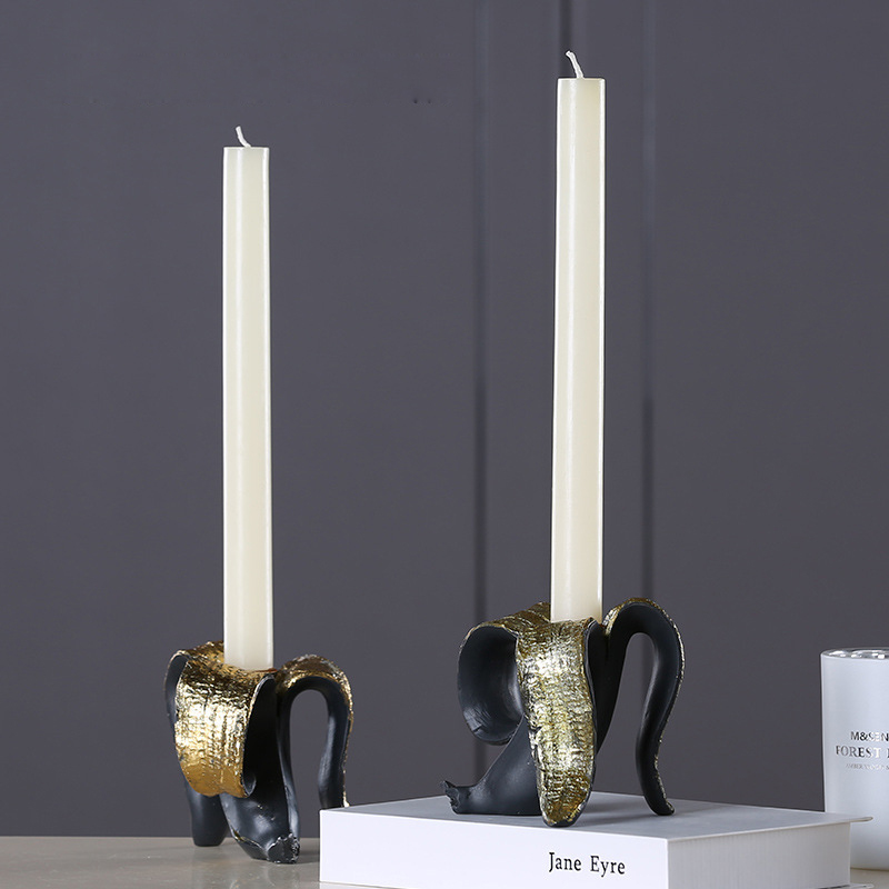 Black painted old Banana Candle Holder classic single hole candlestick Resin for creative home decoration - 3