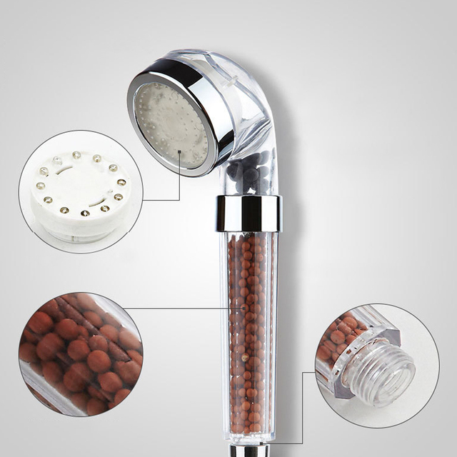 22cm Length 7 Colors Change Led shower Hand Held Bathroom Led Shower Head Filter Hand Shower Saving Water