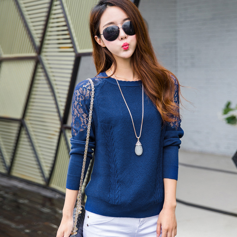2016 Spring and Autumn O-neck with Lace New Fancy Design Lace Sleeve Girls Pullover Sweater