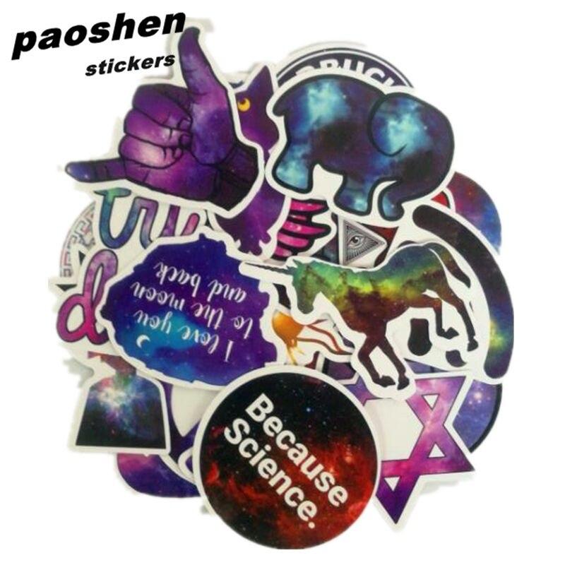 28pcs Cool Starry Sky Waterproof Stickers Classic font b Toys b font PVC Fashion Laptop Skateboard