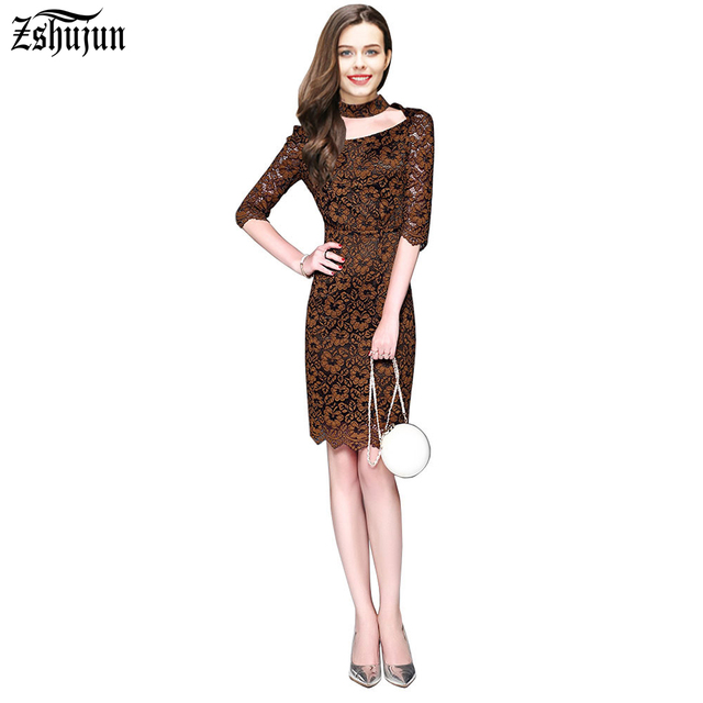 9ea00c5d5a Free shipping Spring Summer Women s fashion dress Hanging neck Exposed chest  1 2 Sleeve Elegant