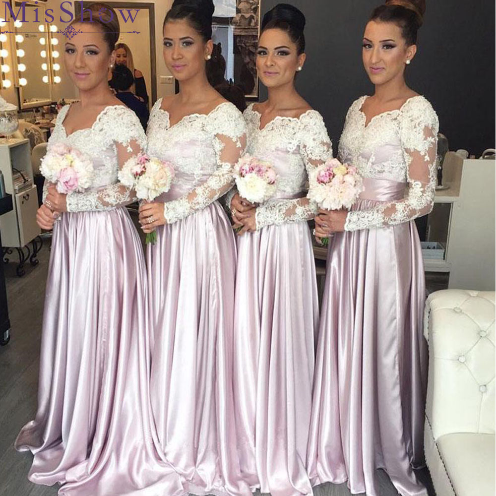 Long Satin Dress A Line V Neck Long Sleeves Wedding Party Gowns Lace Appliques Bridesmaid Dresses Robe Demoiselle D'honneur