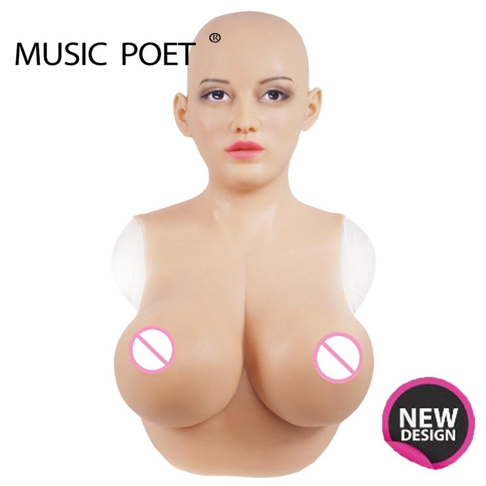 Masque de silicone réaliste femme poète de musique pour crossdresser avec des formes de sein réalistes cosplay mascarade shemale glisser quee