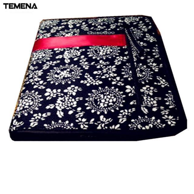 TEMENA Printing ChiaoGoo Interchangeable Needle bag Storage Needle case for Knitting and Makeup Brush 25.3cm*15.3cm ZJ-0002-3