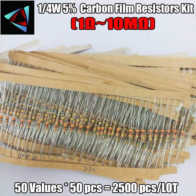 2500pcs/lot 1/4W 0.25w 5% Carbon Film Resistor Kit 50 Values Assortment Pack Mix Selection (1R-10M)