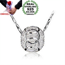 OMHXZJ Wholesale round woman man Grind arenaceous luck beads kpop star 925 sterling silver NO Chain Necklace pendant Charms PE06 цена