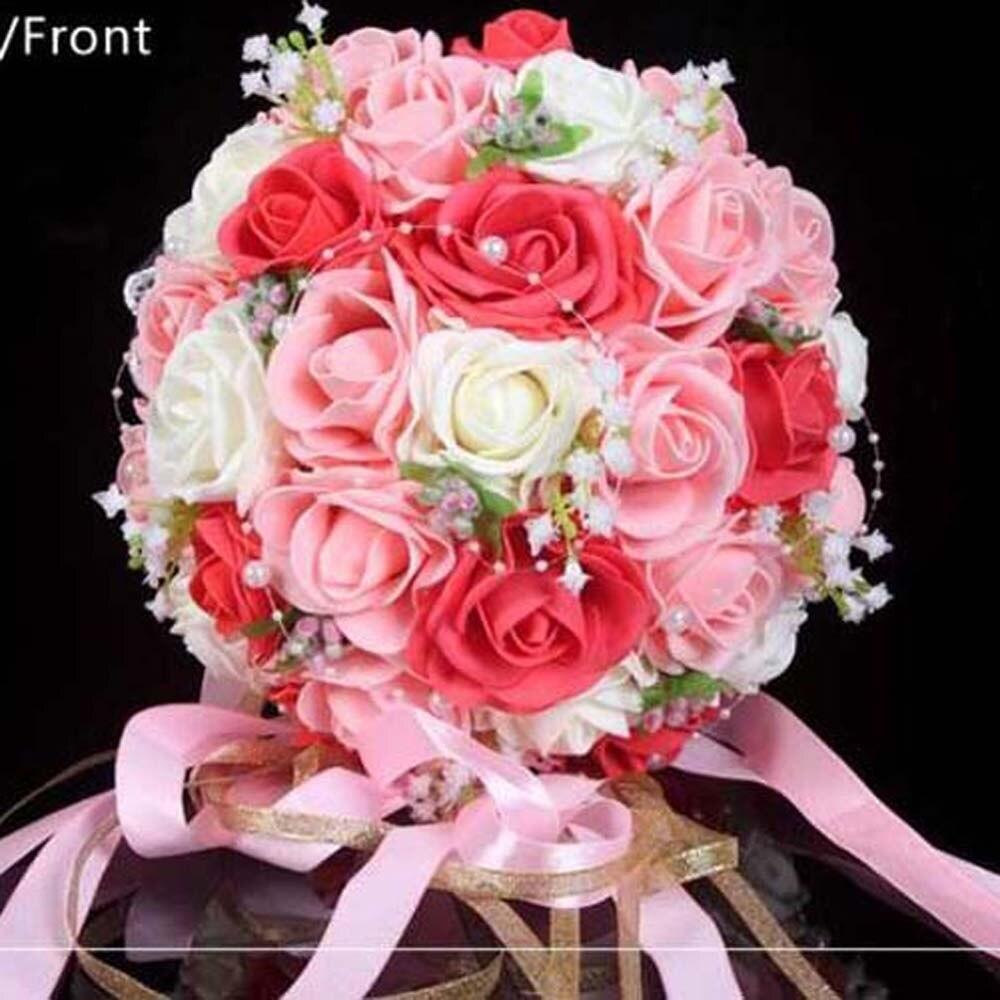 Bourgondië & Wit Rose Bridal Handgemaakte Mooie Bloemen Decoratieve Kunstmatige Rose Boeket Parels Bruid Bridal Lace Wedding December