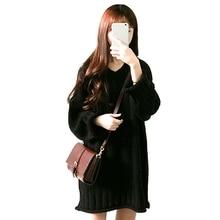 Новый v-образным вырезом осеннее платье Для женщин Свободные Платья-свитеры Повседневное вязаное платье Vestidos Mujer