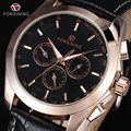 FORSINING Brand Automatic Military Watch 6 Pin Auto Date Dial Rose Gold Watch Leather Men Dress Mechanical Wrist Watches Gift