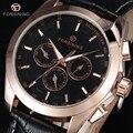 FORSINING Marca Automático Relógio Militar 6 Pinos Auto Data Mostrador em Ouro Rosa Homens de Couro Relógio De Vestido Relógios de Pulso Mecânico Presente