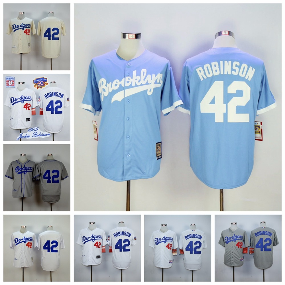 f7919aa32 ... Los Angeles Dodgers 42 Jackie Robinson Throwback Jerseys Embroidery  Stitched Shirt Baseball Jersey Gray Free Shipping ...