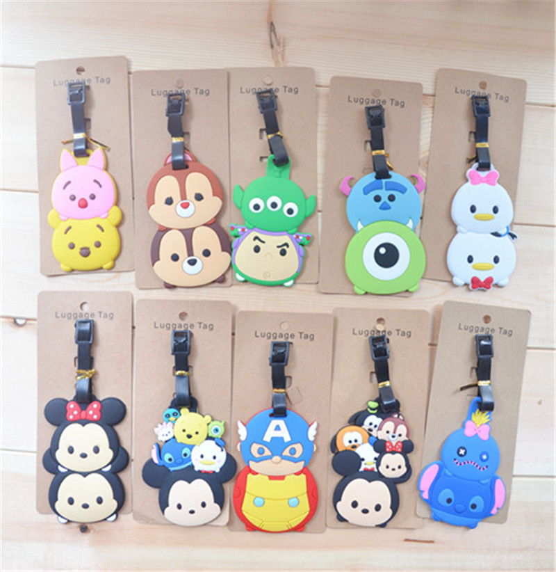 Disney Tsumtsum Mickey Stewart Donald Duck Luggage Tag Creative Cartoon Silicone Consignment Identification Boarding Pass