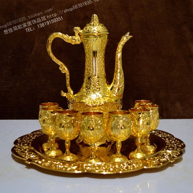 10 pieces of high grade gold wine set 1 tray 8 European antique wine gift wine jug