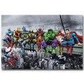 Almoço No Topo de um Arranha-céu Da Cultura Pop Engraçado Art Silk Impressão Cartaz Deadpool Hulk Super-heróis Da Liga Da Justiça Batman Anime Retrato Da Parede