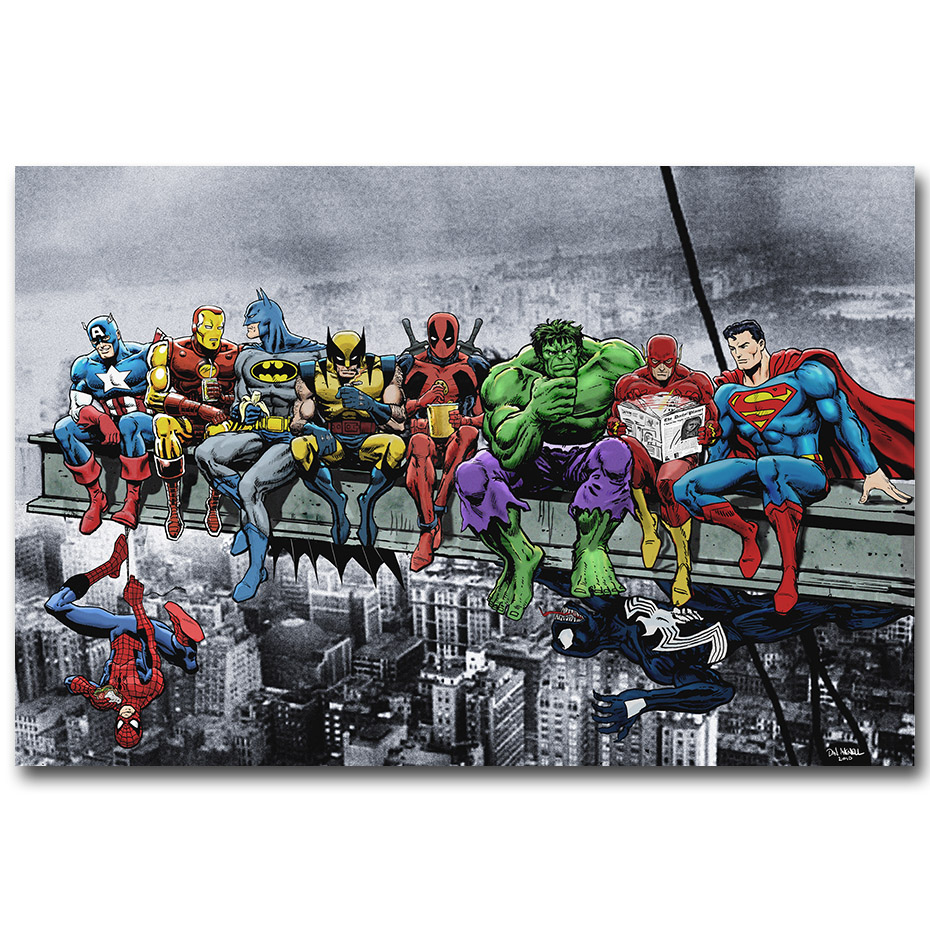 Pop culture lunch atop a skyscraper funny art silk poster print deadpool hulk batman justice league