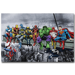 Pop culture lunch atop a skyscraper funny art silk poster print deadpool hulk batman justice league.jpg 250x250