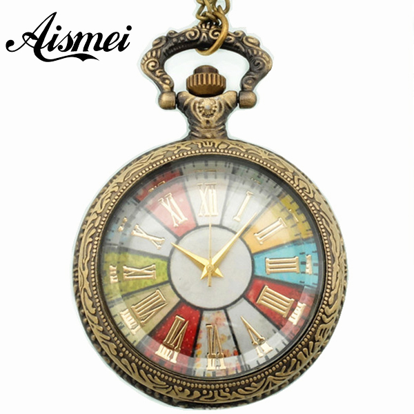 Colorful 2018 multicolour swivel plate vintage Pocket & Fob watch Pocket & Fob watch with necklace for men and women