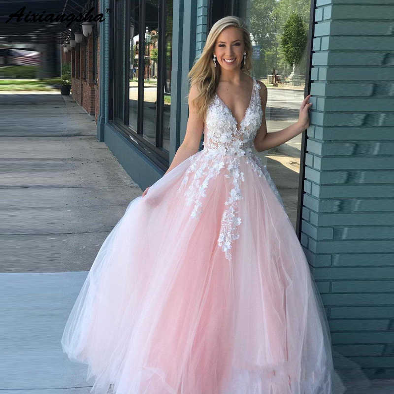 Romantic Design Princess Blush Pink Beaded Lace Applique vestidos de fiesta  Party Prom Gowns 2019 Ball c8ff3c2ead04