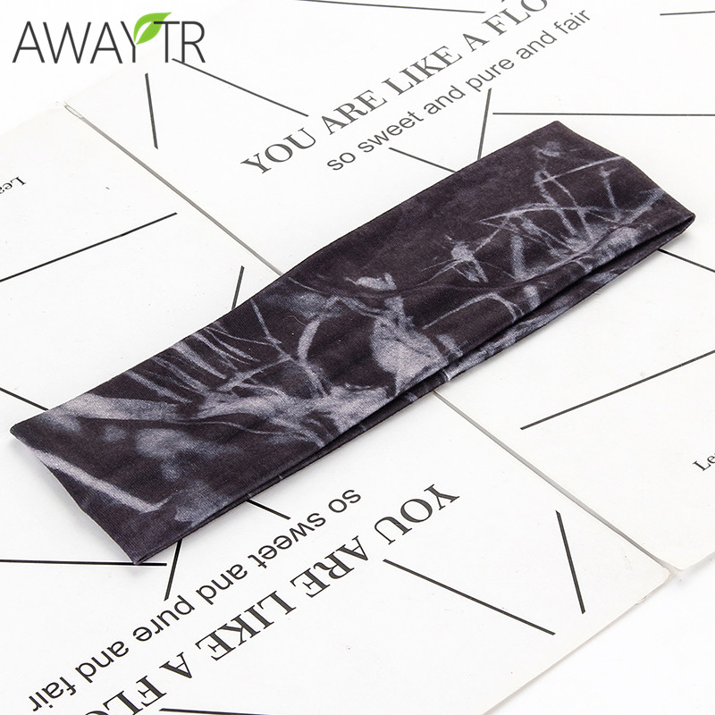 Fashion Man and Women Hair Accessories Camo Cotton Fabric Elastic Headband Wide Turban Hair Bands For Girl Sport Yoga Hair Band