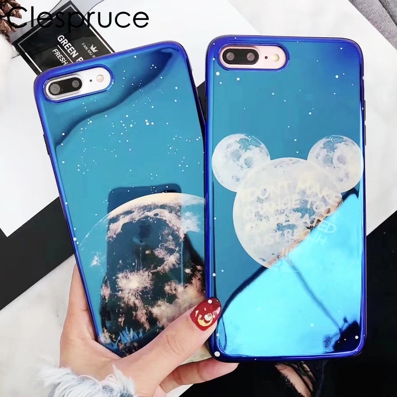 Fashion Luxury Moon Planet Minnie love Marble Phone Case For iphone 6 6s 7 8 plus blue ray light soft cover For iphone X coque