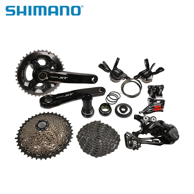 купить SHIMANO Deore XT M8000 6pcs Groupset M8025 Conventional 2x11S Front Derailleur M8000 GS Rear Derailleur MTB Bike Bicycle Parts недорого