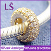 LS New 100 14 K Solid Gold Insiration Within Spacer Charm Fit Original Bracelets Pulseira Berloque