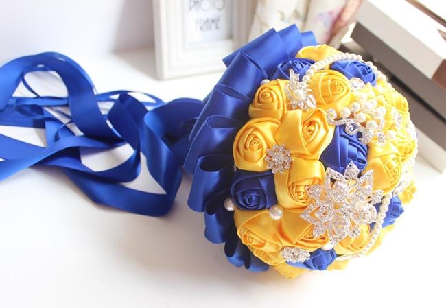 JaneVini Fleur Satin Gul och Royal Blue Wedding Brosch Bouquet Bride - Bröllopstillbehör - Foto 6