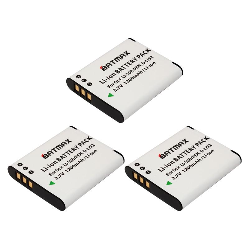 3-Pack Li-50B LI50B 50B Battery&Charger for OLYMPUS SP 810 800UZ u6010 u6020 u9010 SZ14 SZ16 D755 u1010 SZ30 SZ20 XZ-1