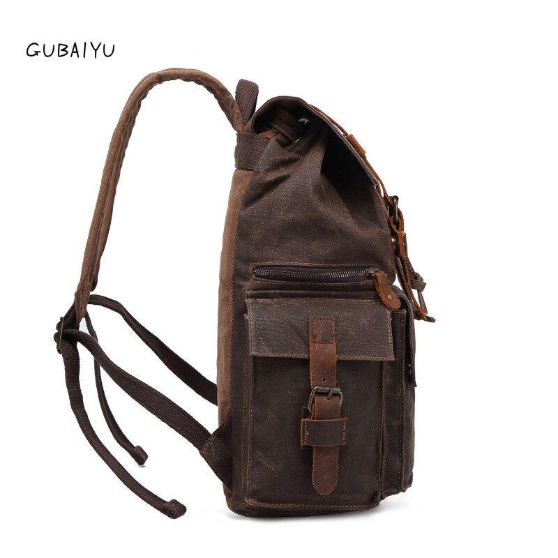 Männlichen Leder Echtes Vintage Luxus Öl Leinwand Große Männer Rucksäcke Wasserdichte Wachs Daypack Reise Retro Laptop grün Brown orange grau xAqRHqwYvz