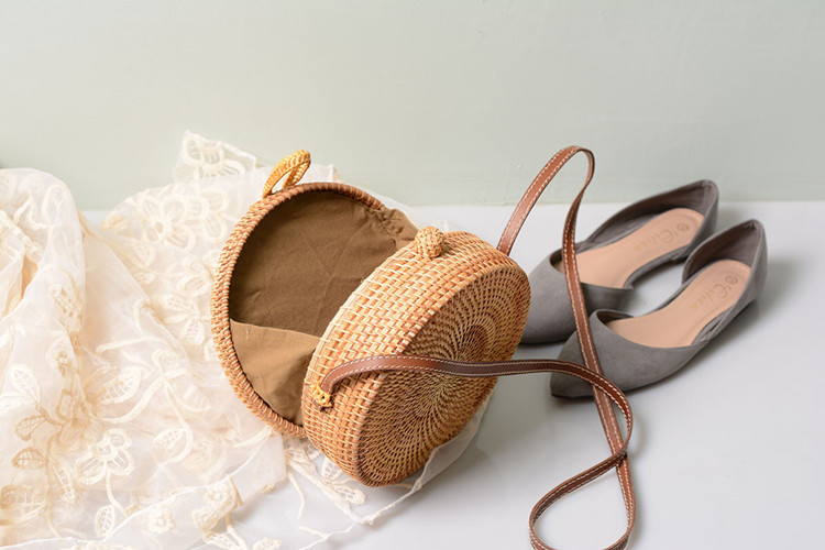 18 Round Straw Bags Women Summer Rattan Bag Handmade Woven Beach Cross Body Bag Circle Bohemia Handbag Bali 26