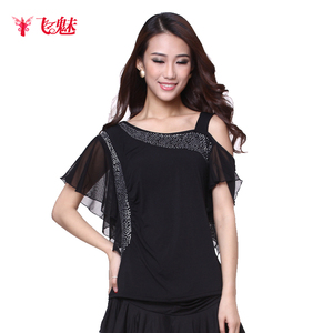Image 2 - Womens Square Dance clothing short sleeve Oblique shoulder tops Latin Dance Performing exercises Strapless Top/tees