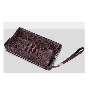 Image 5 - Krokodil muster anti theft passwort schloss brieftasche aus echtem leder brieftasche männer kupplung tasche business brieftasche große kapazität geldbörse