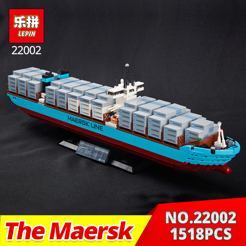 Lepin Technic Series 22002 1518Pcs The Maersk Cargo Container Ship Set Educational Building Blocks Bricks Model Toys Gift 10241 new lepin 16042 pirate ship series building blocks the slient mary set children educational bricks toys model gift with 71042