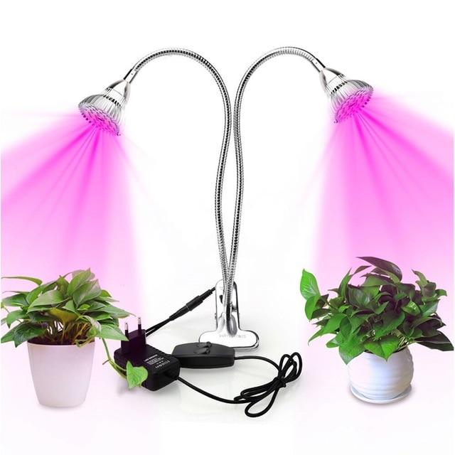 Двухголовная Светодиодная лампа для выращивания растений с держателем, лампы растения для гидропоники цветов, Крытый садовый парник