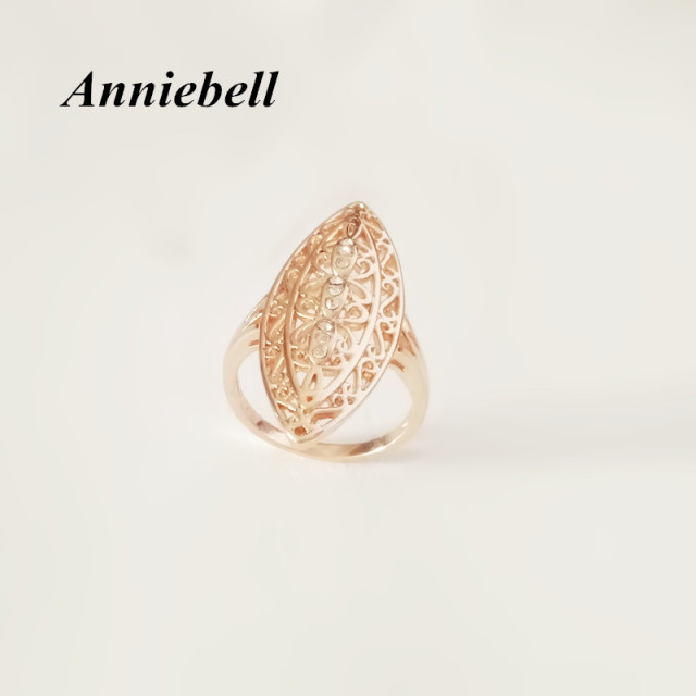 anniebell new 585 gold women rings natural stone filled leaf wedding fashion jewelry vintage long infinity - Leaf Wedding Ring