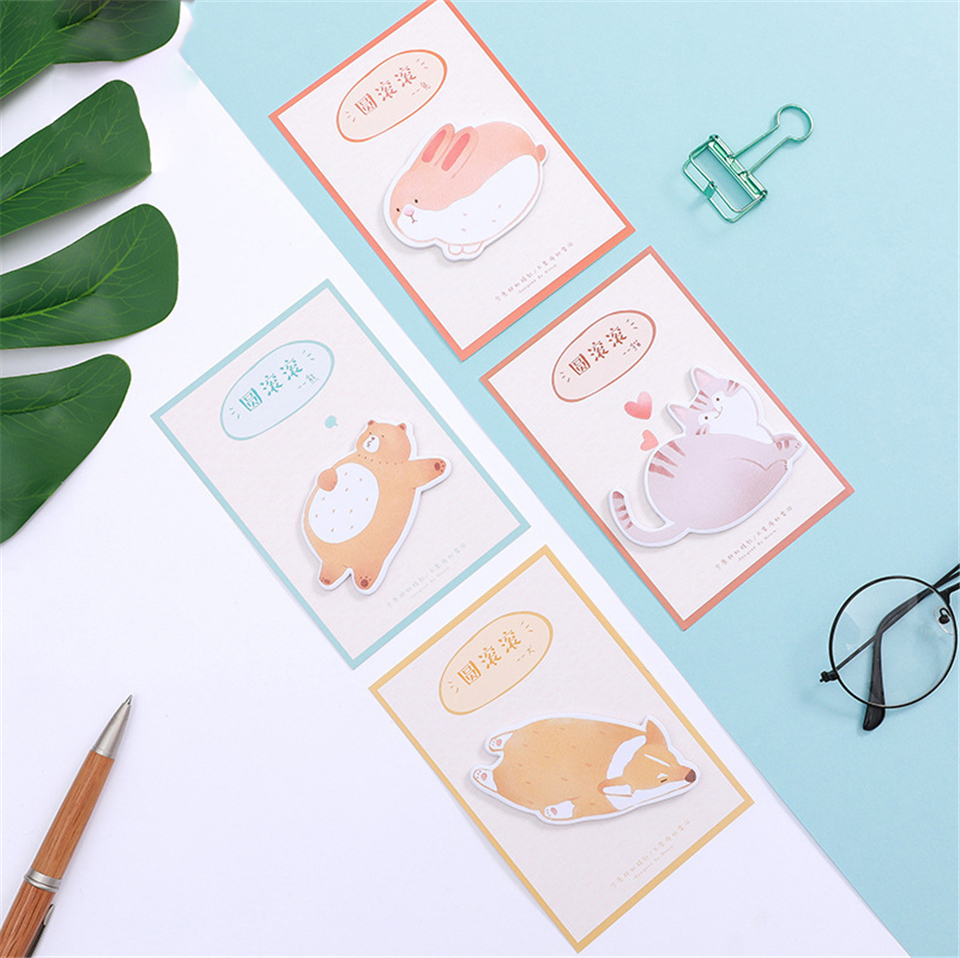 12pcs/lot Kawaii Memo Pad N Sticky Notes Cute Fat Animal Messages Post It Stationery Office School Supplies