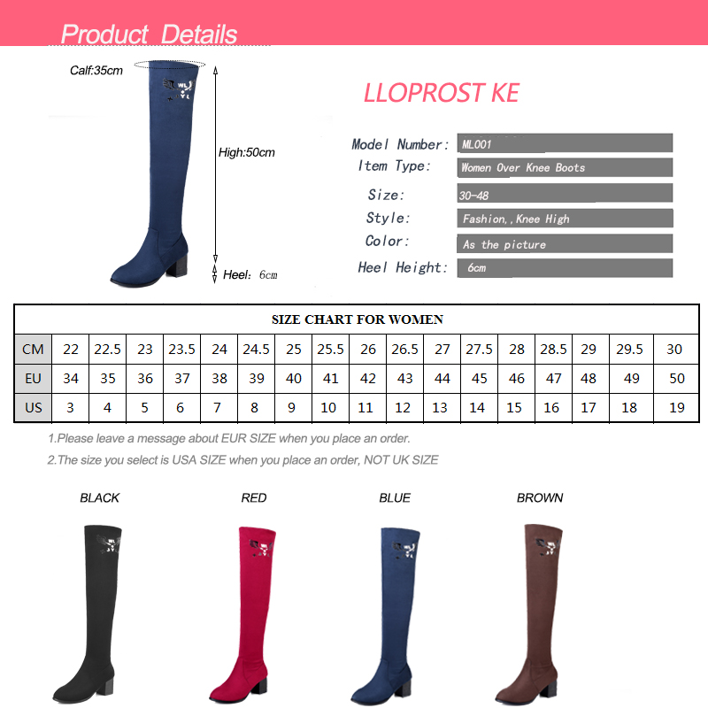 LLOPROST KE Women Boots 2017 European New High Heel Fashion Over The Knee Warm Comfortable 4 Color Boots Plus Size 34 48 ML001 in Over the Knee Boots from Shoes