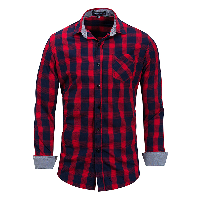 New Mens Shirt Cotton Long-sleeved Fashion Plaid 100% Brand Clothing